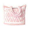 coral boho beach bag tote hand loomed diamond pattern