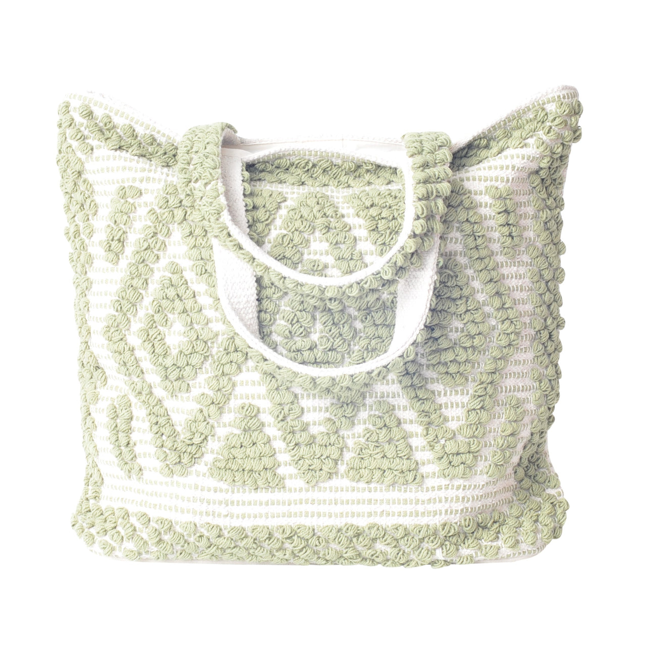 khaki boho beach bag tote hand loomed diamond pattern