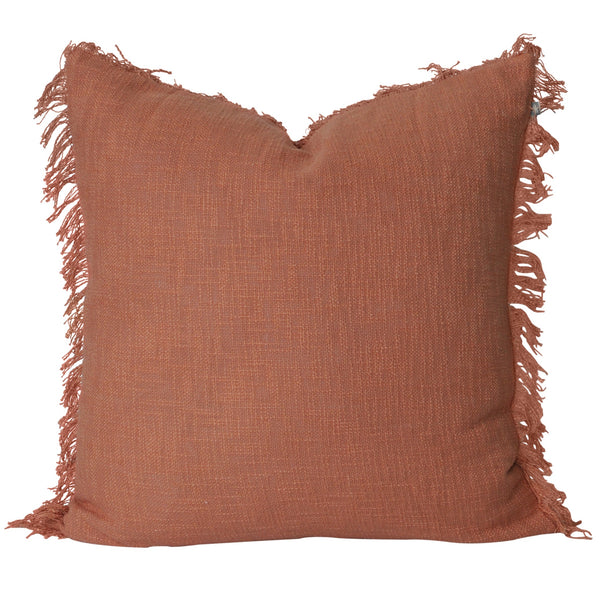 terracotta cushion rust cotton euro pillow tassel large feather insert