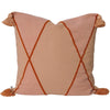 euro cushion coral tassels geometric design rust trim