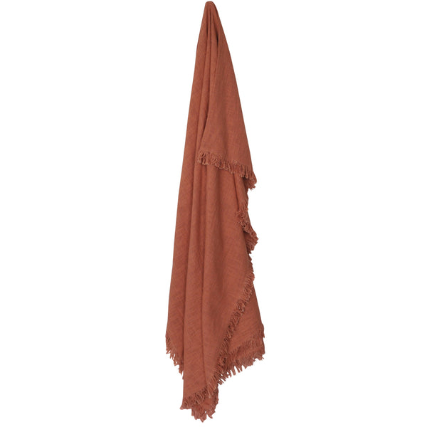 large cotton fringed throw blanket terracotta rust