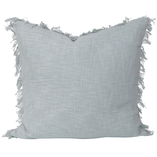 slate euro pillow cotton large fringing blue feather insert