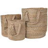 jute baskets with tassel and loop handle small medium large