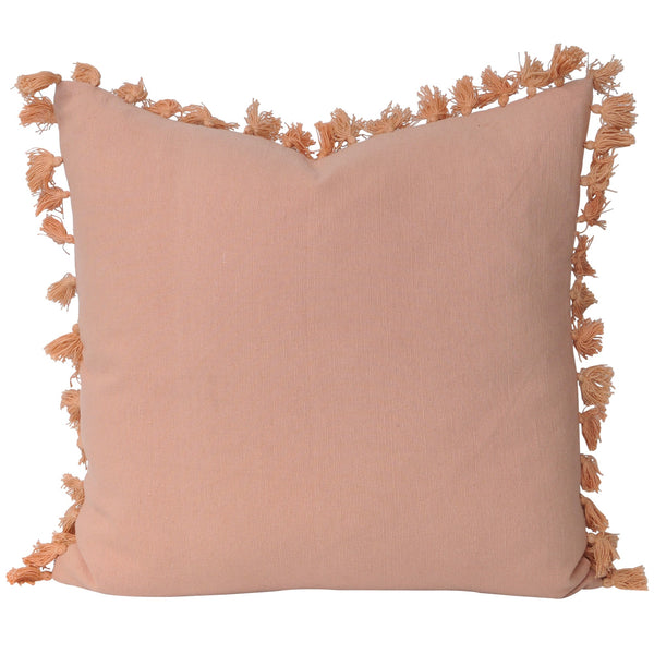 Tayla Tassel Cushion- Coral