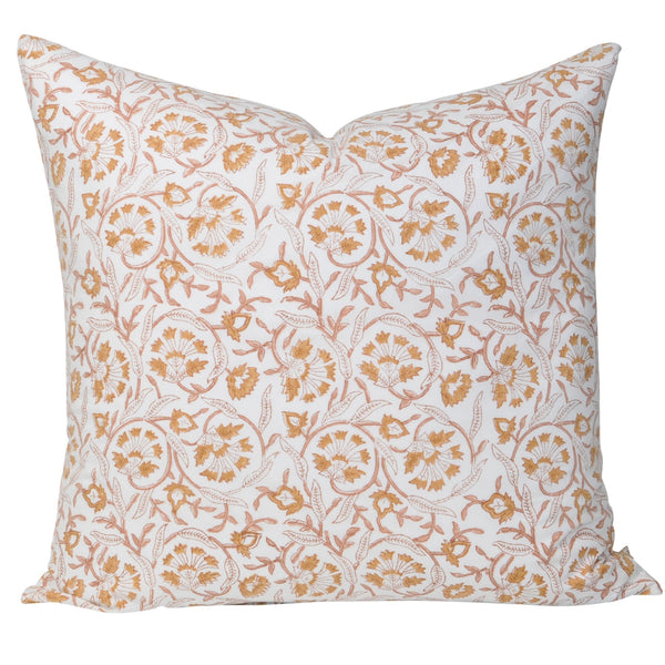 euro cushion pillow block printed peach rust white floral
