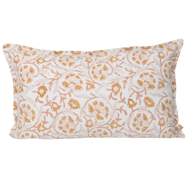 lumbar rectangular cushion peach rust white floral