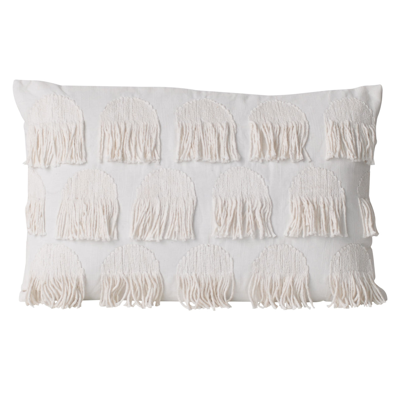 fringing frayed lumbar white ivory cushion pillow texture textured