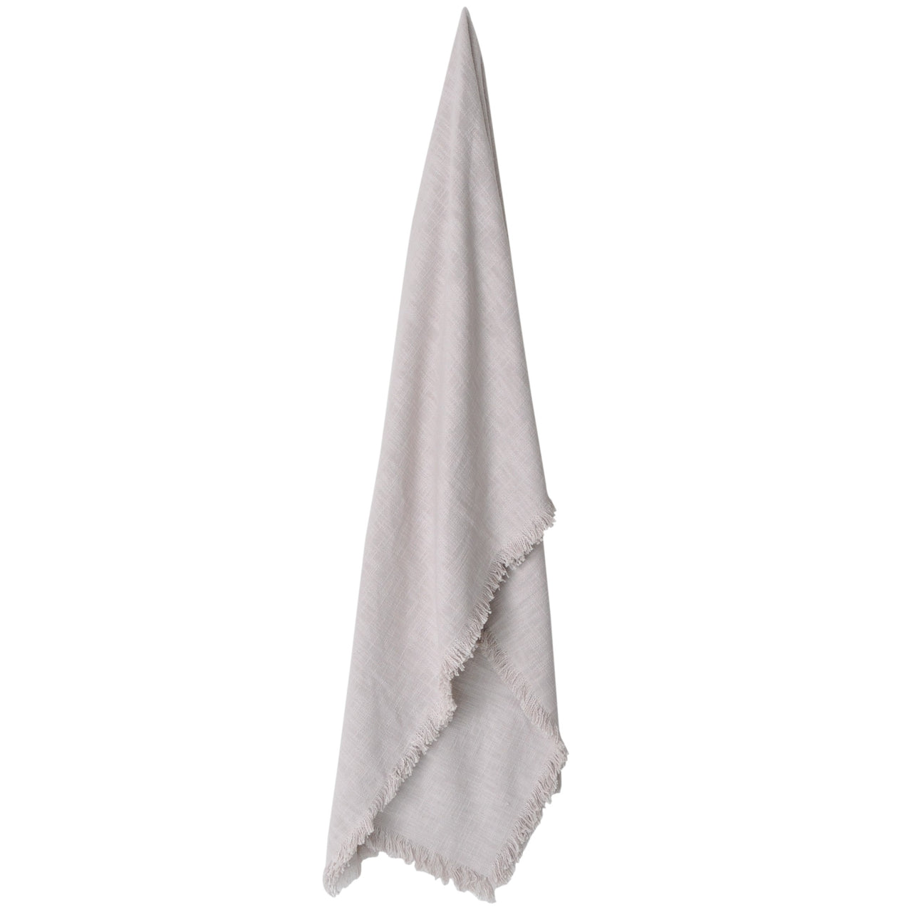 large cotton fringed throw blanket ecru off white