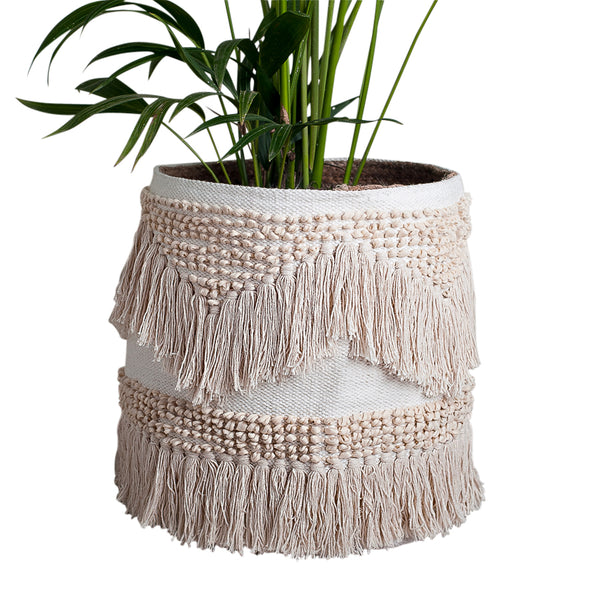 boho coastal bohemian fringed basket storage plant holder natural