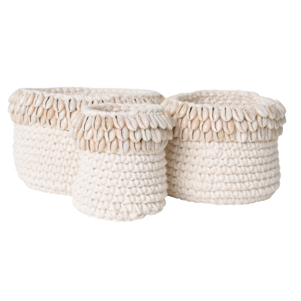 crochet shell pot natural white cowrie plant holder