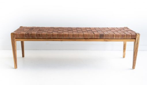 leather strap bench seat furniture teak