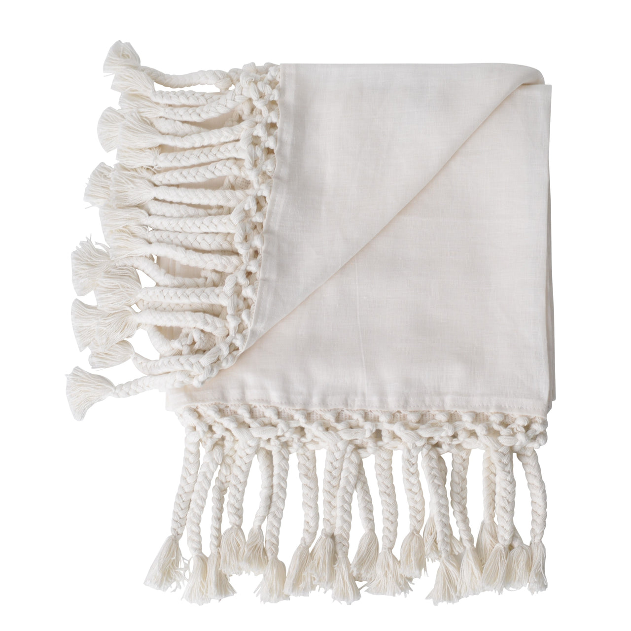 linen macrame white throw blanket texture edge trim ivory neutral