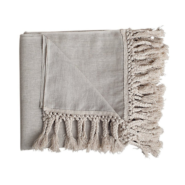 textured boho bohemian coastal natural taupe linen macrame throw blanket