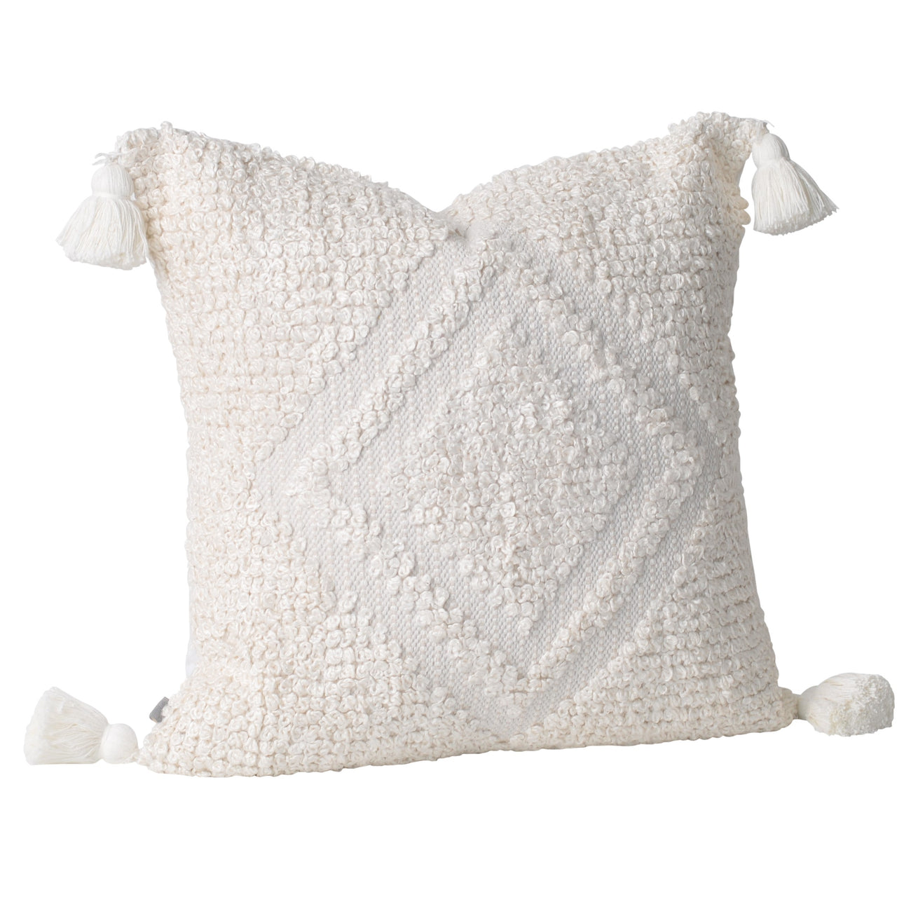 white ivory diamond tassels tassles boho bohemian coastal patterned euro cushion pillow