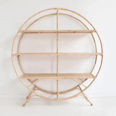 round rattan cane shelves oven bookcase circle