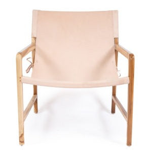 leather sling chair teak nude