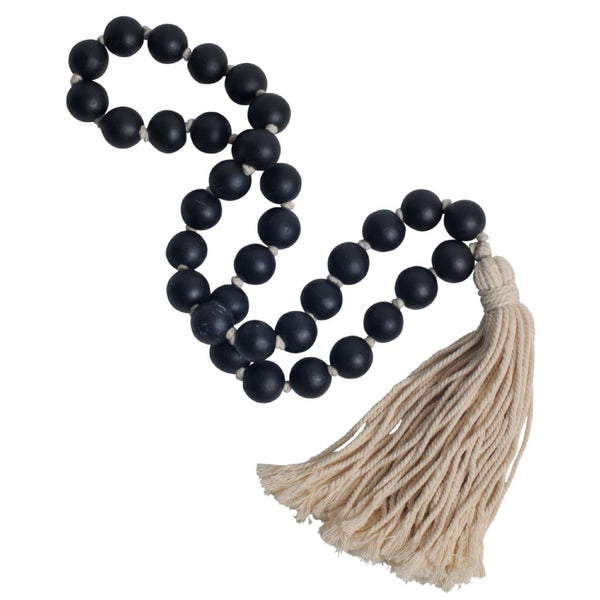 tassel tassle black decorative beads wooden