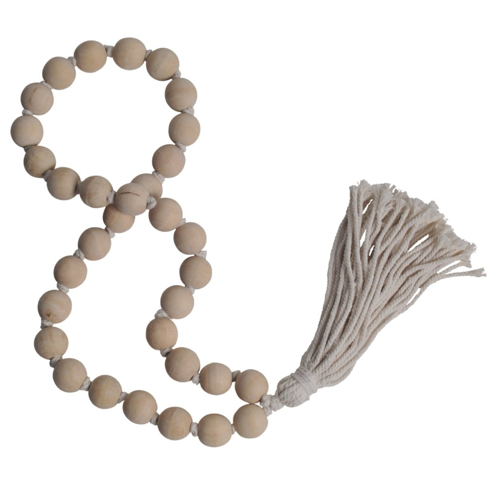 tassel tassle natural beige decorative beads wooden