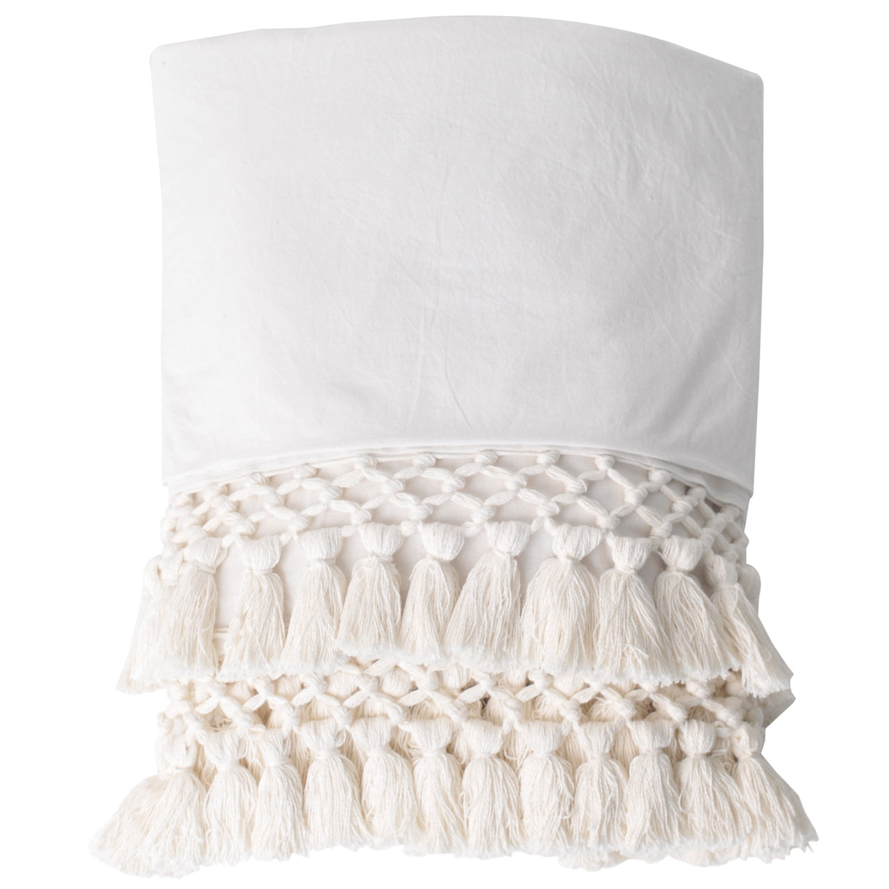 macrame throw white ivory bed cover coverlet blanket trim pom pom tassels