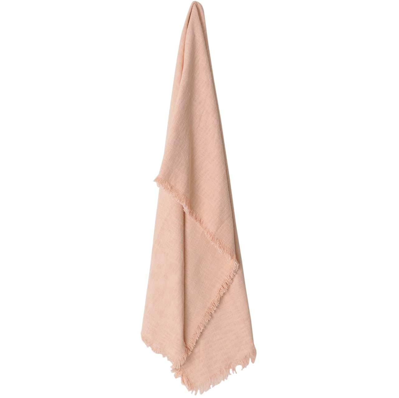 large cotton fringed throw blanket peach blush