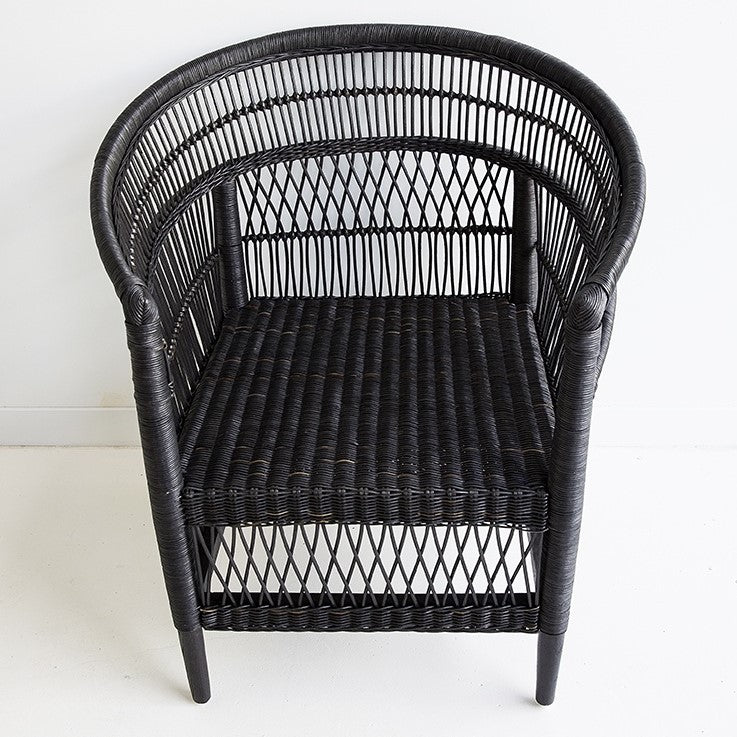 rattan cane malawi chair black tribal boho bohemian coastal