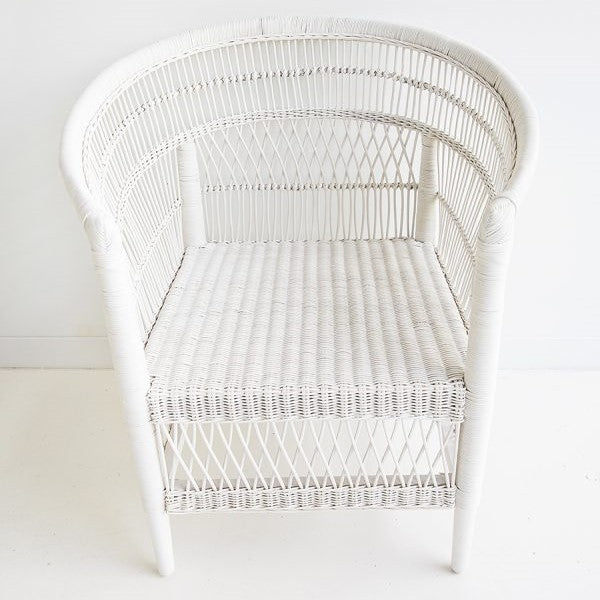 rattan cane malawi chair white tribal boho bohemian coastal