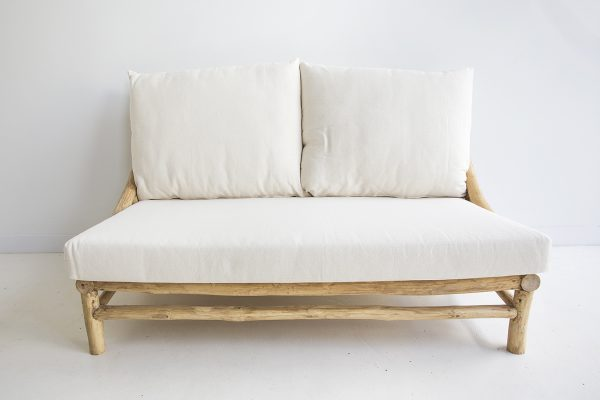 teak wooden wood sofa two seat setting