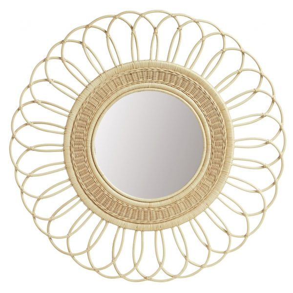 rattan flower cane mirror wall decor decoration round circle