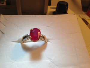 10KT Yellow Gold Ruby Ring w Diamond Accents Sz 7