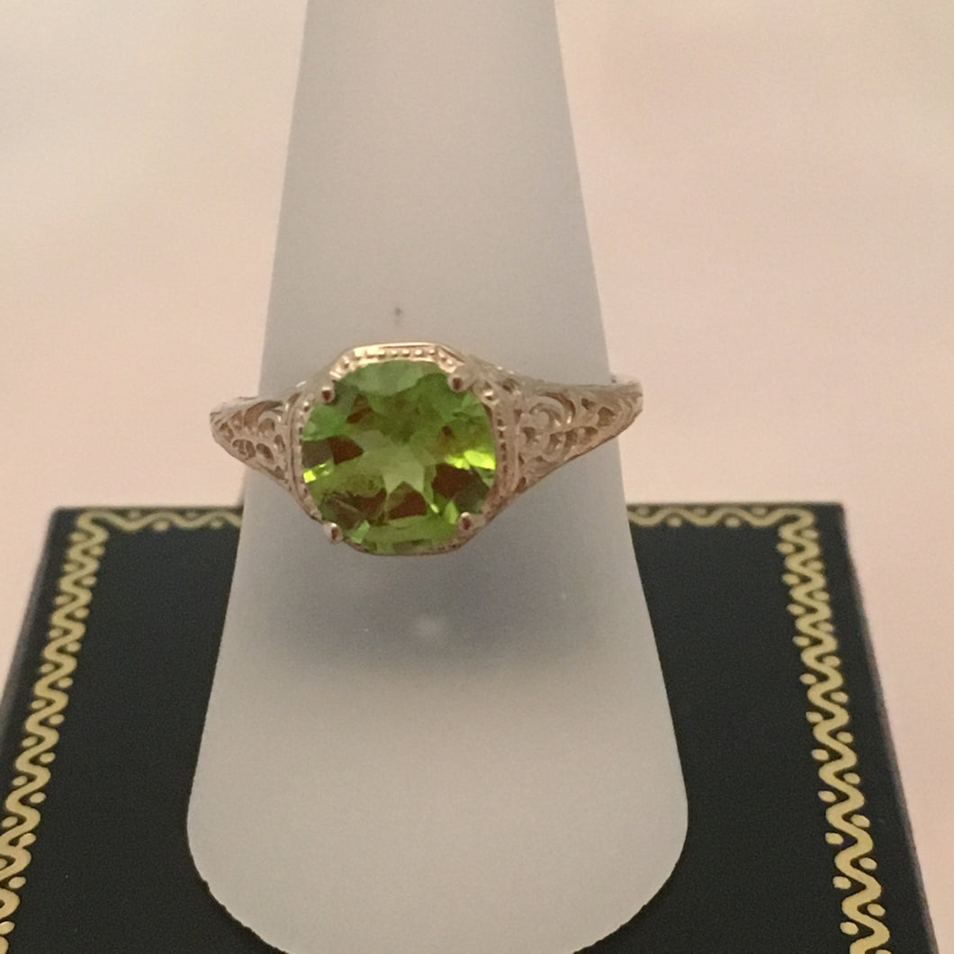 10 KT White Gold Peridot Ring Sz 7
