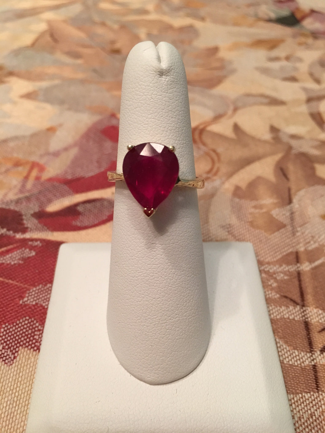 14 KT Yellow Gold Ruby Pear (4.79 Ct) GF Sz 7