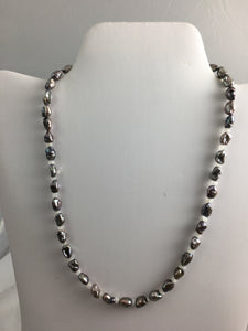 "17 1/2 "" Silver Keshi Pearl w Moonstone Accent Beads"