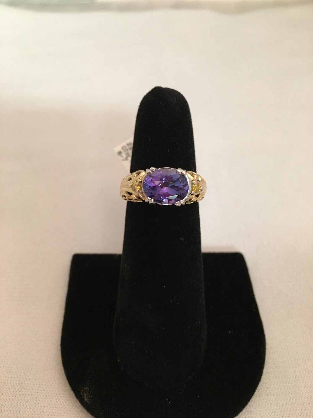 14 Kt WG Filigree Ring 2.6 Ct Tanzanite w .11 Ct Canary Diamonds Sz 7