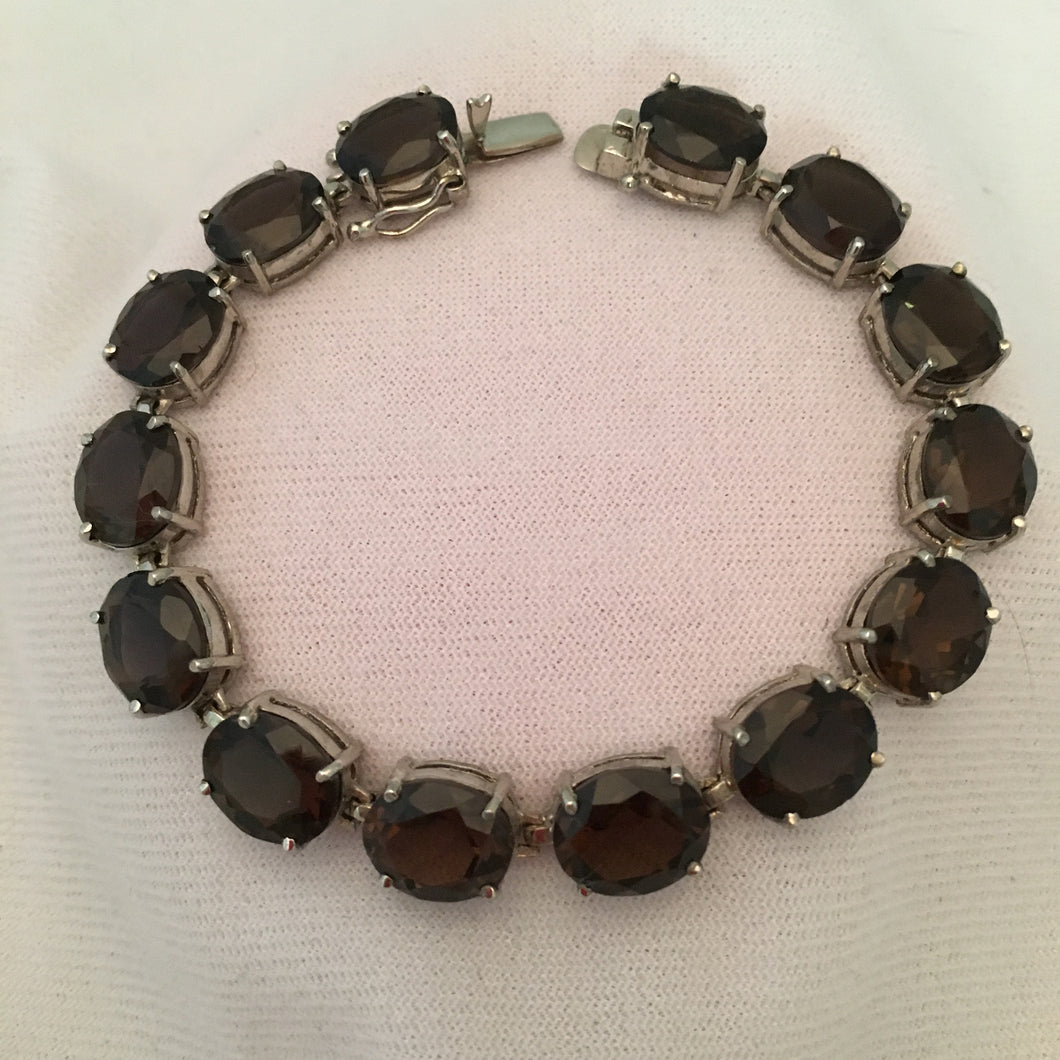 54 Ct. Smokey Quartz Sterling Silver Quartz Bracelet