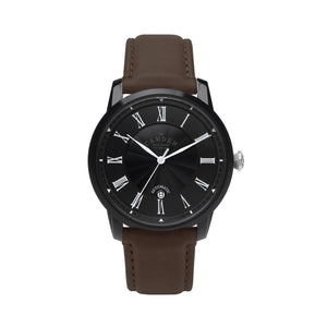 No.29 Automatic Black Case and Brown Leather Watch