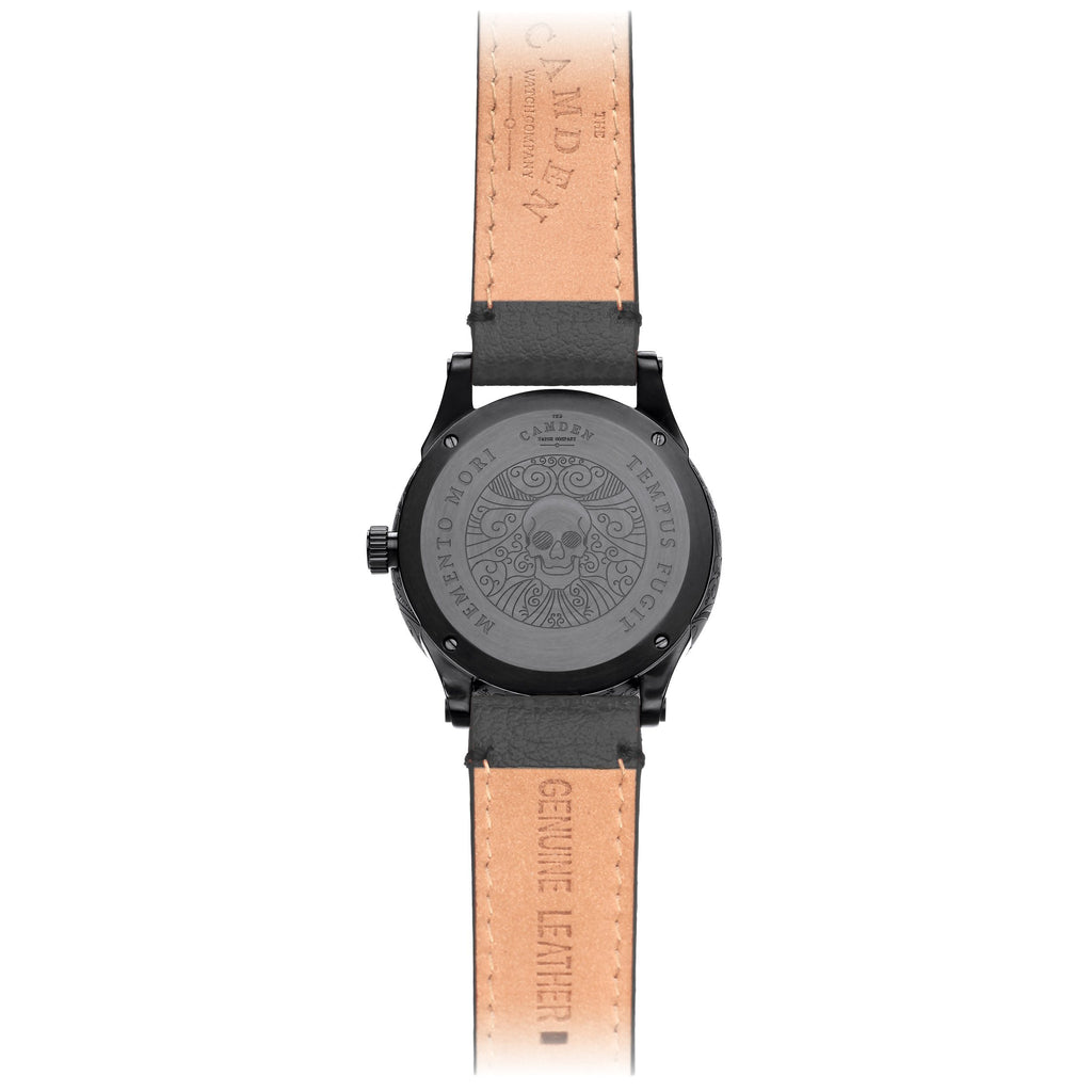 No.253 Memento Mori Black Watch on Black Strap Case Back