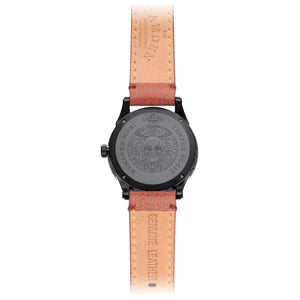 No.253 Memento Mori Black Watch on Tan Strap Case Back