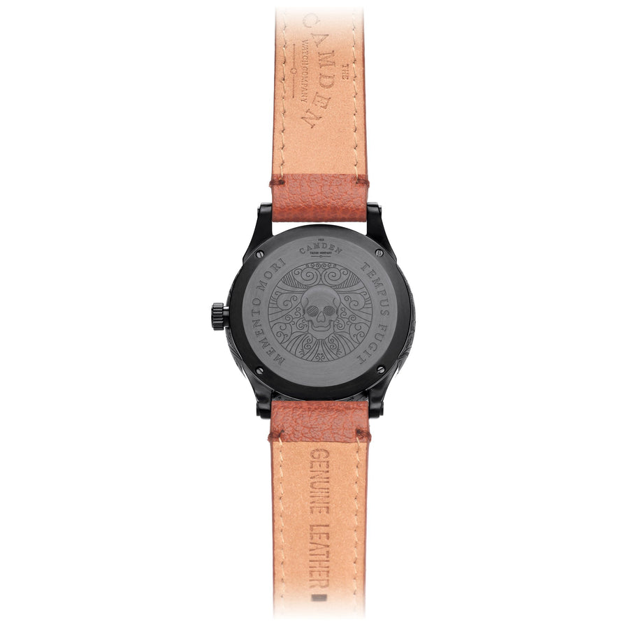 No.253 Memento Mori Black Watch on Tan Strap