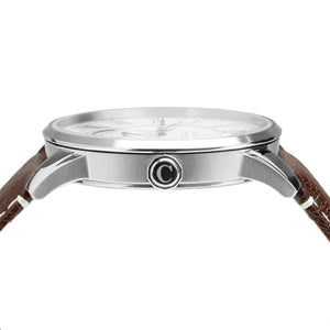 No.29 Gents Classic Watch Steel, Brown Strap and Green Accents Side