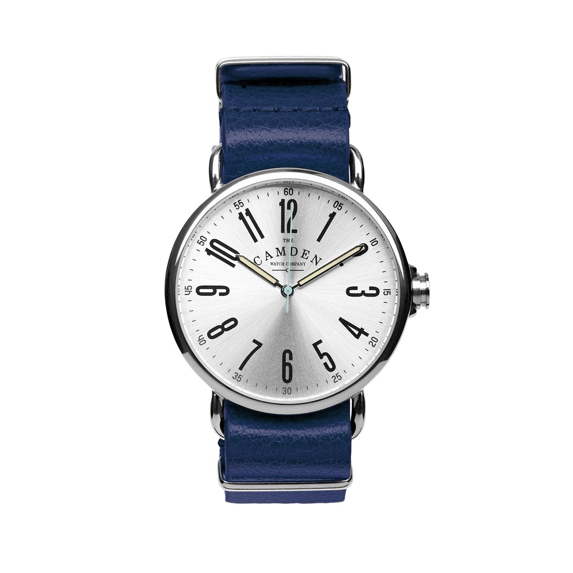 Camden Watch Company Steel Unisex Watch with Navy Blue Leather Strap