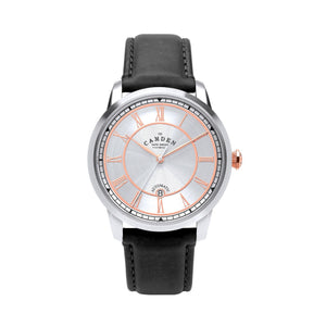 No.29 Automatic Steel Case with Rose Gold and Black Leather Watch