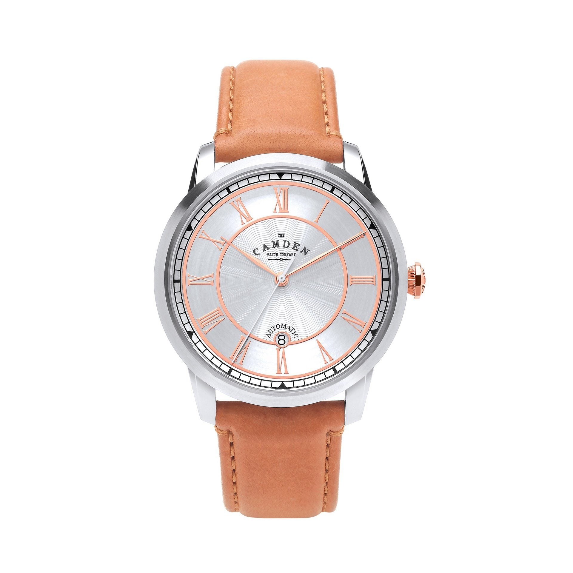 No.29 Automatic Steel Case, Rose Gold and Tan Leather Watch