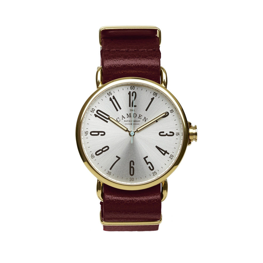 Camden Watch Company Unisex Watch Gold and Oxblood Leather