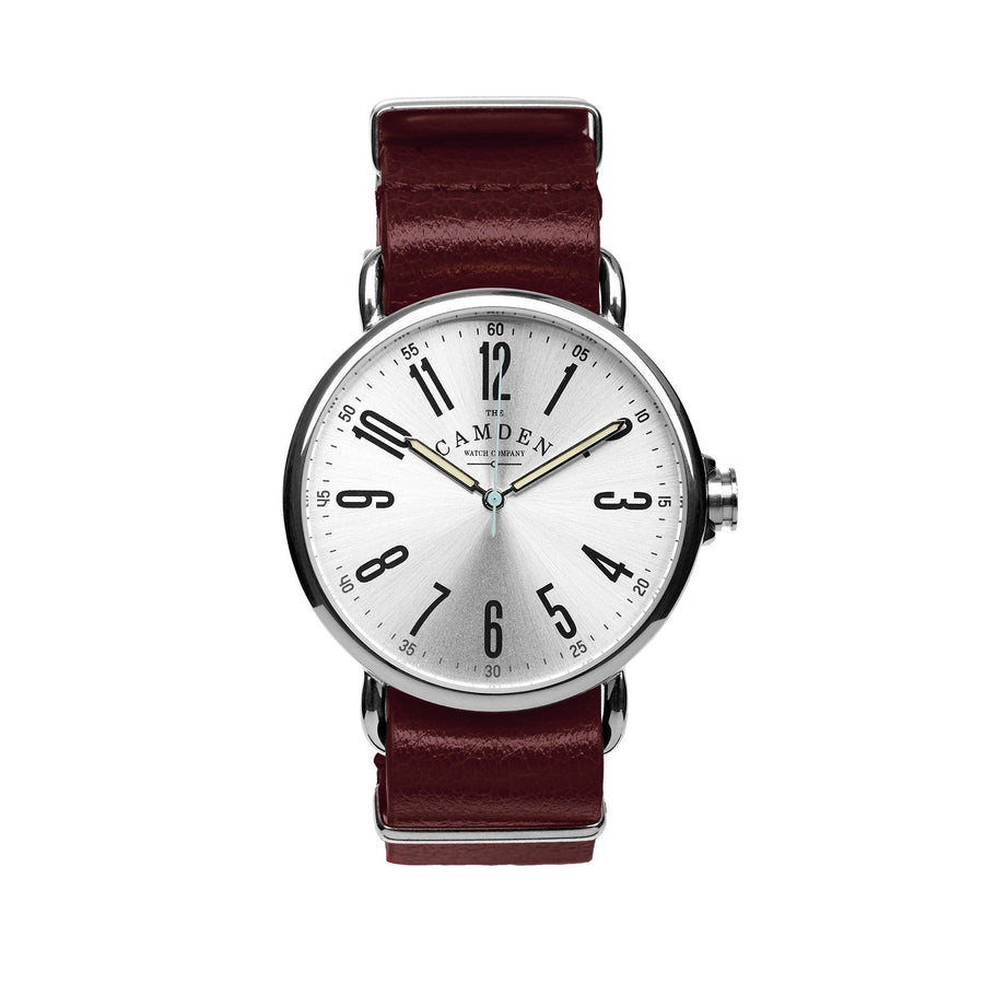 Camden Watch Company Steel Unisex Watch with Oxblood Red Leather Strap