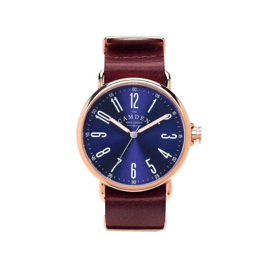 Camden Watch Company Rose Gold Watch Blue Dial and Oxblood Red Strap