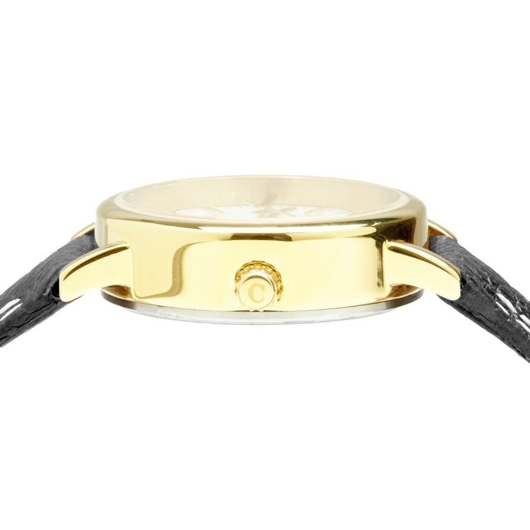 No.24 Black Strap And Gold Ladies Small Watch