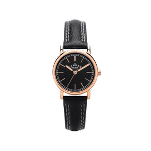 Black Strap And Rose Gold Vintage Style Ladies Watch