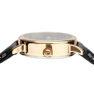 Black Strap And Rose Gold Classic Ladies Watch