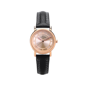 No.24 Black strap and Rose Gold small Ladies Watch