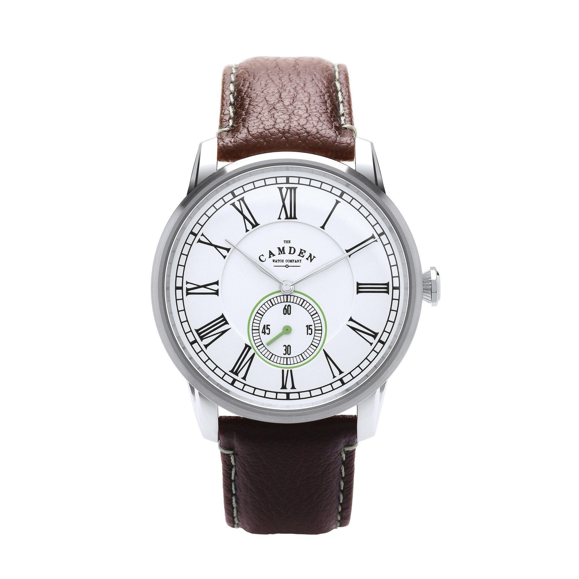 No.29 Gents Classic Watch Steel, Brown Strap and Green Accents
